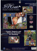 J & P Coats Plastic Canvas Frames Nursery Rhymes Designed by Joan Elliott - Set of Four Frames Plus Bonus Accessory Pieces Including Easels Magnets and Pin Backs for Finishing