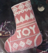 Joy Stocking (Christmas Picture Net Darning) Counted Cross Stitching Craft Kit