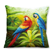 Lovely Pair Of Colourful Parrots 3D Stamped Cross Stitch Kit Cushion Cover- 45cm By 45cm