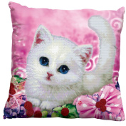 Lovely White Cat 3D Stamped Cross Stitch Cushion
