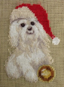 Vintage Preworked Wool Needlepoint Tapestry Canvas Petit Point Dog Christmas Puppy