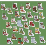 Bucilla 86261 More Tiny Stockings Counted Cross Stitch Ornament Kit, 8.9cm by 8.9cm , Set of 30