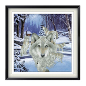 Wnter Wolf 3D Stamped Cross Stitch Kit - 48cm By 48cm