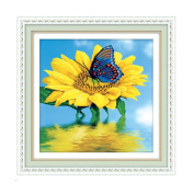 Nature summer sunflower flower with butterfly 3D Stamped Cross Stitch Kit - 48cm By 48cm