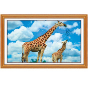 Giraffe mother and baby 3D Stamped Cross Stitch Kit - 70cm By 43cm