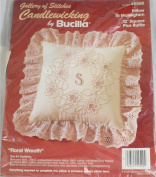 Floral Wreath - Bucilla Candlewicking 30cm Square Pillow w/ Ruffle to Monogram Kit #49500