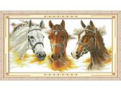 Happy Forever Cross Stitch,Animals, three horses