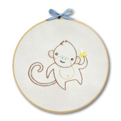 "Penguin & Fish ""Monkey"" Hand Embroidery Wall Art Kit"