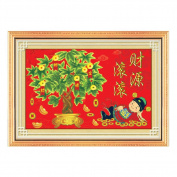 Money Tree and Chinese god of Prosperity 3D Stamped Cross Stitch Kit - 60cm By 43cm