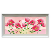 Wonderful Flowers isolated pink background 3D Stamped Cross Stitch Kit - 70cm By 33cm
