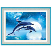 Couple Dolphins 3D Stamped Cross Stitch Kit - 70cm By 50cm