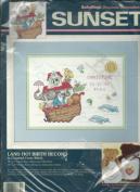 Vintage Dimension Sunset 13632 Counted Cross Stitch Kit BabyHugs Land Ho! Birth Recored