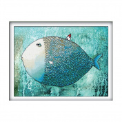 Big fish small house 3D Stamped Cross Stitch Kit - 60cm By 48cm