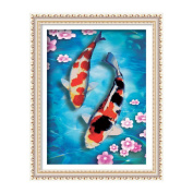 Pair of Koi fish 3D Stamped Cross Stitch Kit - 50cm By 70cm