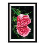 Two Pink Rose 3D Stamped Cross Stitch Kit - 50cm By 70cm
