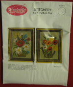 "Wonder Art Wonderart Creative Needle Crafts Needlecrafts ""Flower Bouquets"" Stitchery 13cm X 18cm Picture Pair 05034"