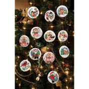 Holiday Favourites Ornaments Counted Cross Stitch Kit-7.6cm Round 14 Count Set Of 12