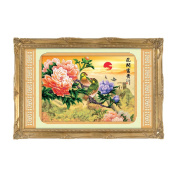 Pair of birds on a branch of peony 3D Stamped Cross Stitch Kit - 70cm By 50cm