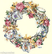 Candamar Designs Teacup Wreath Cross Stitch Kit