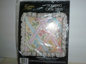 Stamped Cross Stitch Pastel Lattice Nosegay Pillow
