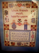 Warm Hearts Counted Cross Stitch Sampler Kit ... When friends meet, hearts warm ... Fits Frame 28cm x 36cm or 30cm x 41cm with mat