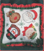 Christmas Traditions Faces of Christmas Counted Cross Stitch Pillow Kit