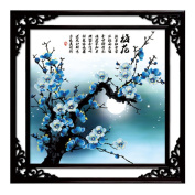 Moonlight Plum Blossom 3D Stamped Cross Stitch Kit - 70cm By 70cm