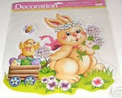 Easter Bunny and Chick with Waggon of Easter Eggs Vinyl Glitter Window Cling