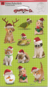 Christmas Pets Santa Hats Scrapbook Stickers