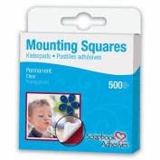 Permanent Mounting Squares 500/Pkg-Clear .13cm X.60cm