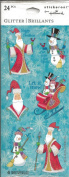 Christmas Santa Snowman Glitter Scrapbook Stickers