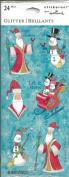 Christmas Santa Snowman Glitter Scrapbook Stickers