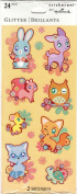 Cute Pastel Animals Glitter Accent Scrapbook Stickers