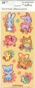 Cute Pastel Animals Glitter Accent Scrapbook Stickers