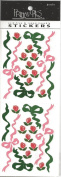 Red Posies and Ribbons Scrapbook Stickers