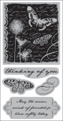 Autumn Leaves Cling Rubber Stamp 11cm x 24cm /Pkg-Butterfly Collage