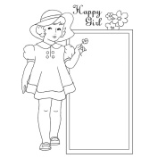 Pink Persimmon Clear Stamp 7.6cm x 10cm Sheet-Happy Girl