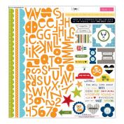 Bella Blvd Max Treasures & Text 12x12 Scrapbook Sticker Sheet