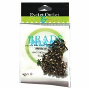 Eyelet Outlet 4mm Round Brads 70/Pkg-Brushed Brass