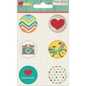 I Heart Summer Flair Badges 6/Pkg-Icons