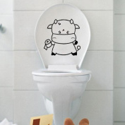 Toilet Decal Decor Bathroom Removable Vinyl Sticker Wall Art Decal-Poo cow