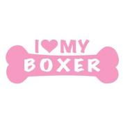 I Love My Boxer Dog Bone Vinyl Decal Sticker in 15cm wide