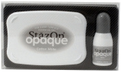 Tsukineko StazOn Opaque Un-Inked Pad and Inker, Cotton White, Pad and Inker