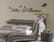 Toprate(TM) Sweet Dreams & Butterflies Wall Decal Sticker Black - Small Size 25cm H x 70cm W