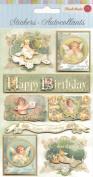 Punch Studio 3D Layered Stickers Birthday Victorian Angels w/Glitter