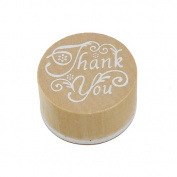 Wooden Rubber Stamp Round Handwriting Wishes Sentiment Floral