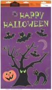Halloween Window Window Clings ~ Bats, Cat, Spider & Pumpkin