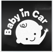 "GINOVO White Reflective Car Sticker/decal Sign of ""Baby in Car"" for Tailstock Rear Windowshield"