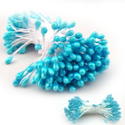The Crafts Outlet 10 Bundles of 144 Double End Pearl Stamens for Scrapbooking, 5.1cm , Light Blue