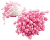 The Crafts Outlet 10 Bundles of 144 Double End Pearl Stamens for Scrapbooking, 5.1cm , Pink